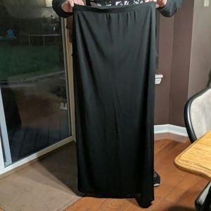 Long black skirt, rayon polyester